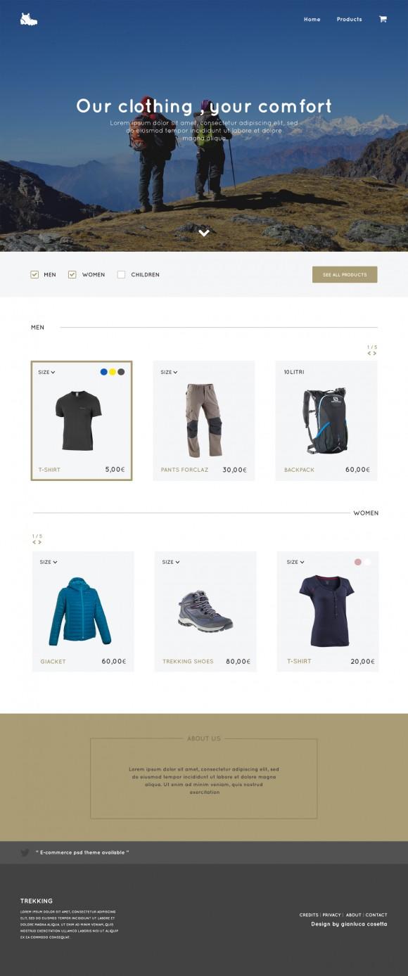 Trekking Store - PSD template Full image
