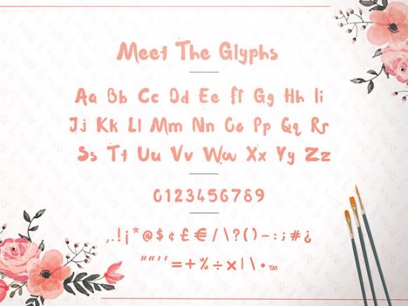 Waterlily free font - Detailed image 03