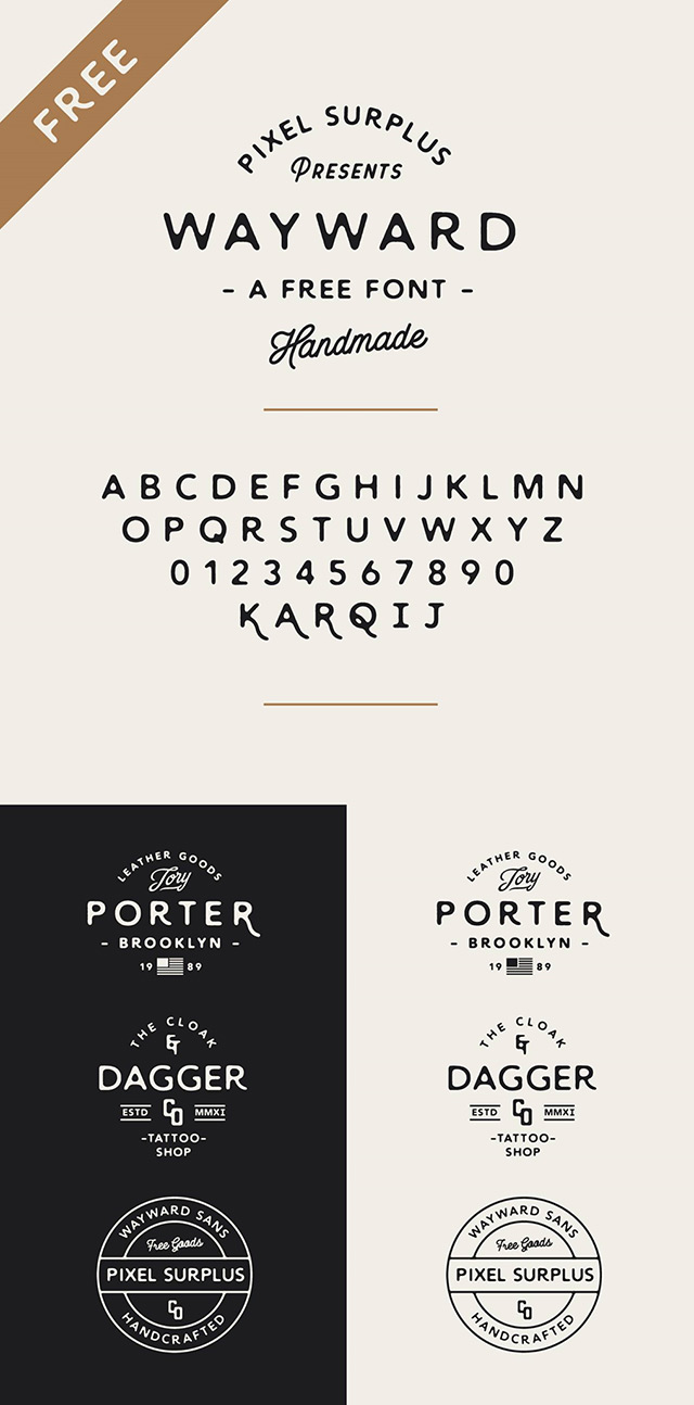 Wayward Sans: A free handmade font - Freebiesbug