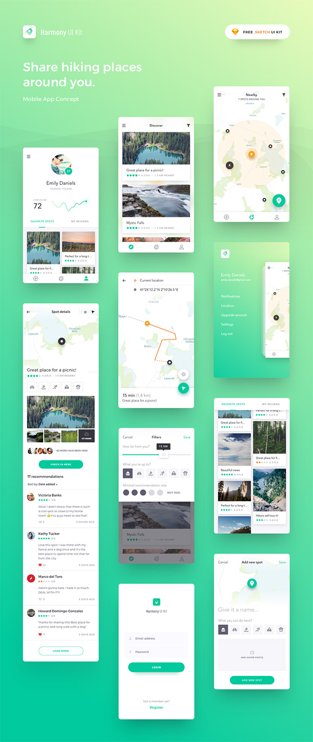 Harmony: Sketch UI kit for map-based apps - Freebiesbug
